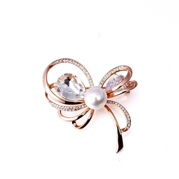 Exquisite Pearl Bow Brooch-Blinglane