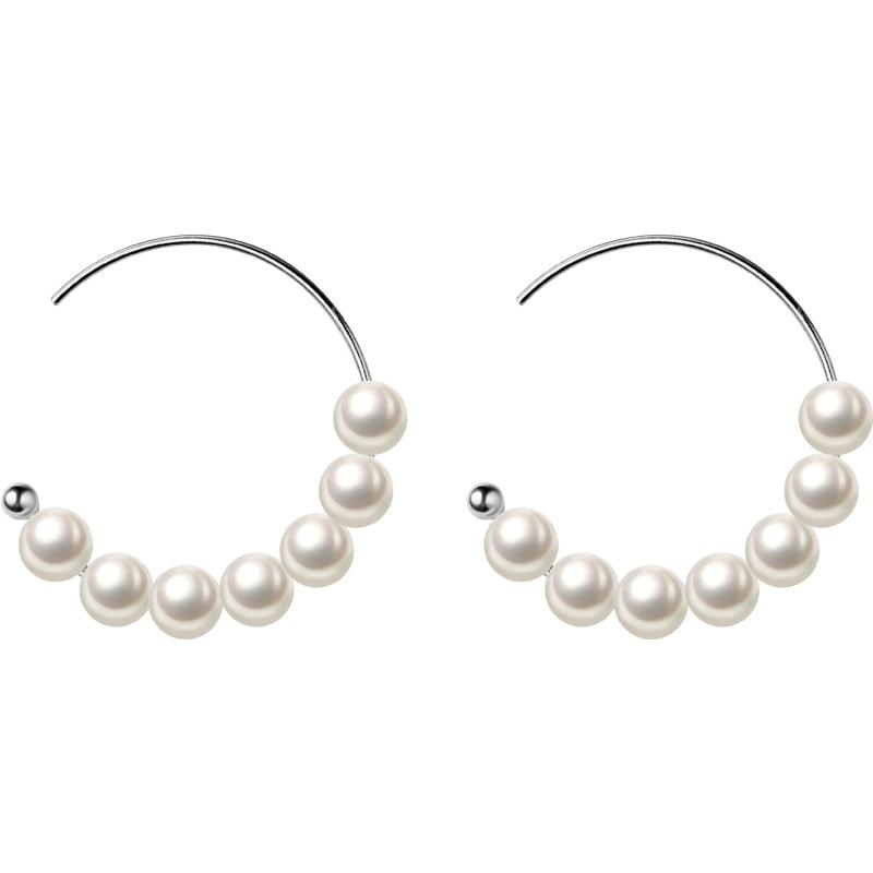 Exquisite Pearl Sterling Silver Hoops-Silver Earrings-Blinglane