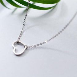 Fascinating Heart Sterling Silver Necklace-Silver Necklace-Blinglane