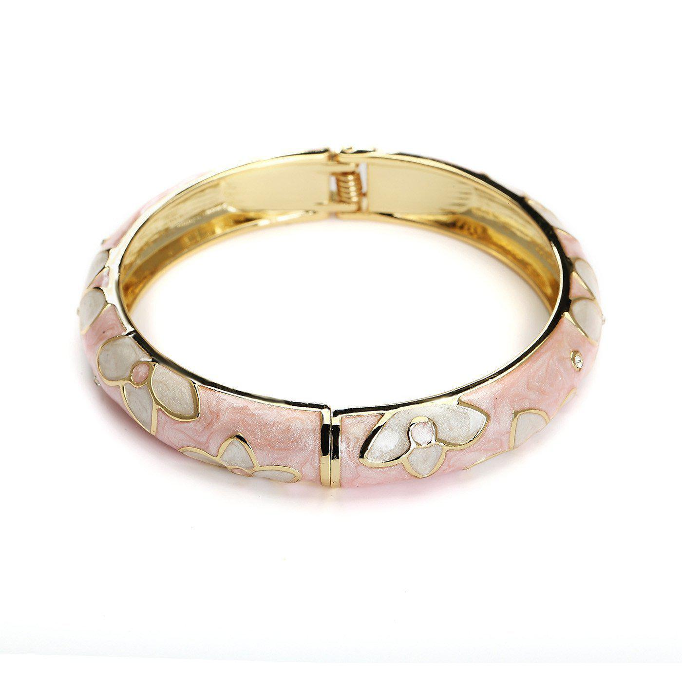 Floral Edge Metallic Fashion Bangle-Blinglane