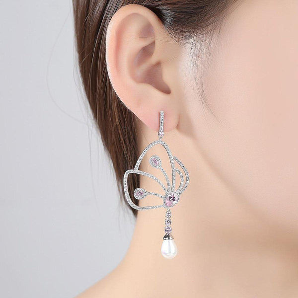 Fluttering Wings Dangler Earrings-Blinglane