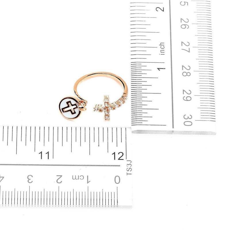 Forever Cross Studded Rose Gold Plated Rings-Blinglane