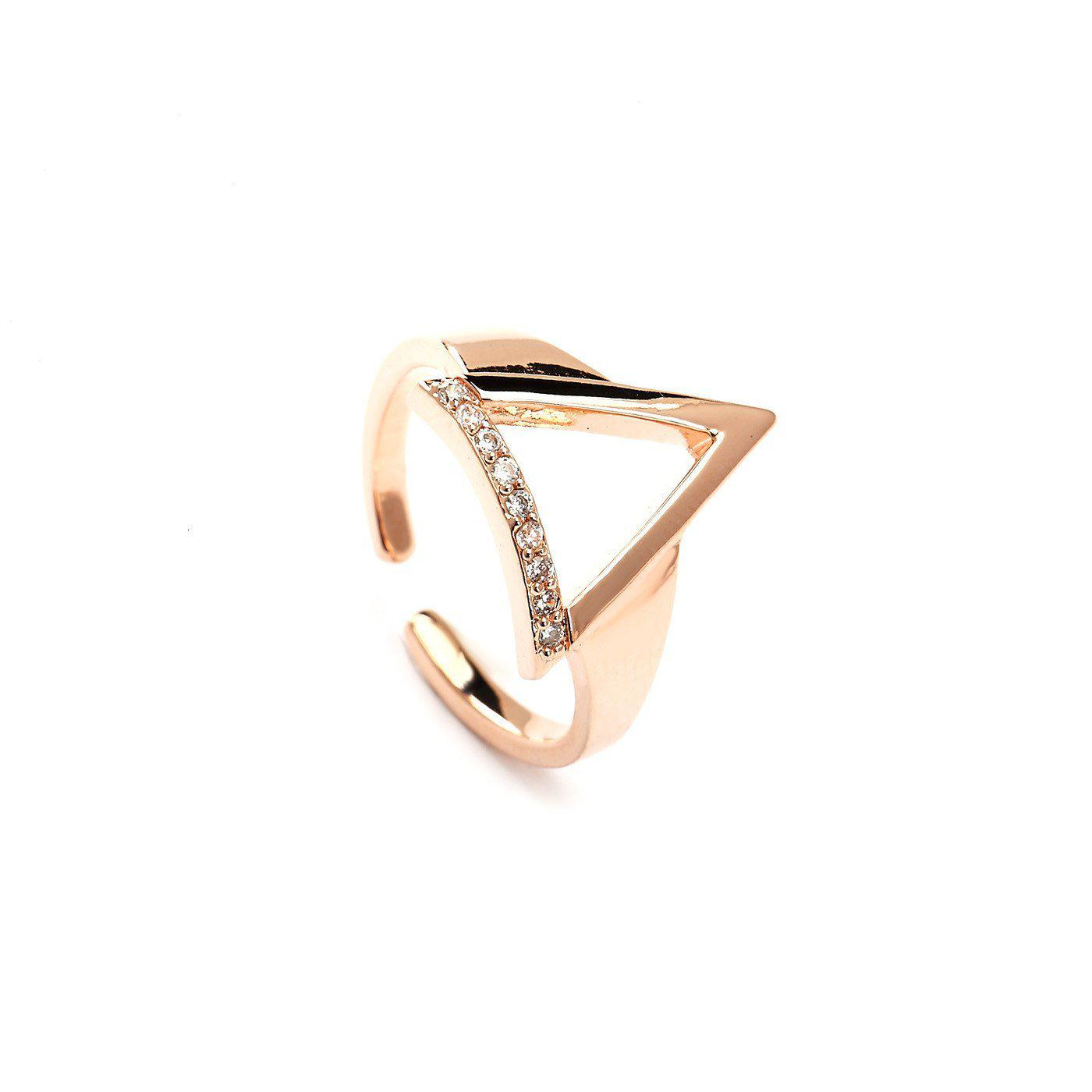Geometric Elegance Rose Gold Plated Rings-Blinglane