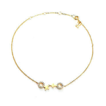He-She Gold Plated Bling Anklet-Blinglane