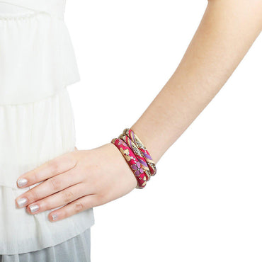 Hot Pink & Purple Floral Bangles-Blinglane