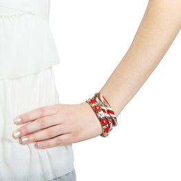 Hot Red and White Floral Bangles-Blinglane
