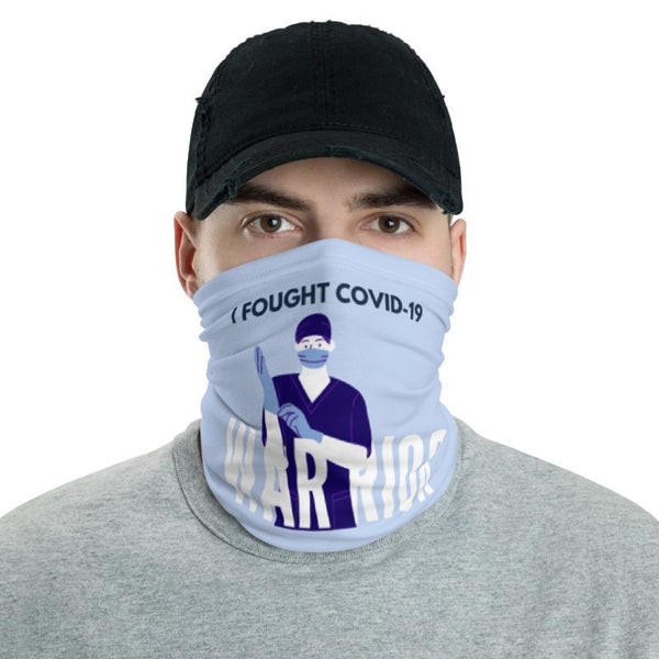 I Fought Covid-19 Warrior Neck Gaiter-Neck Gaiters-Blinglane
