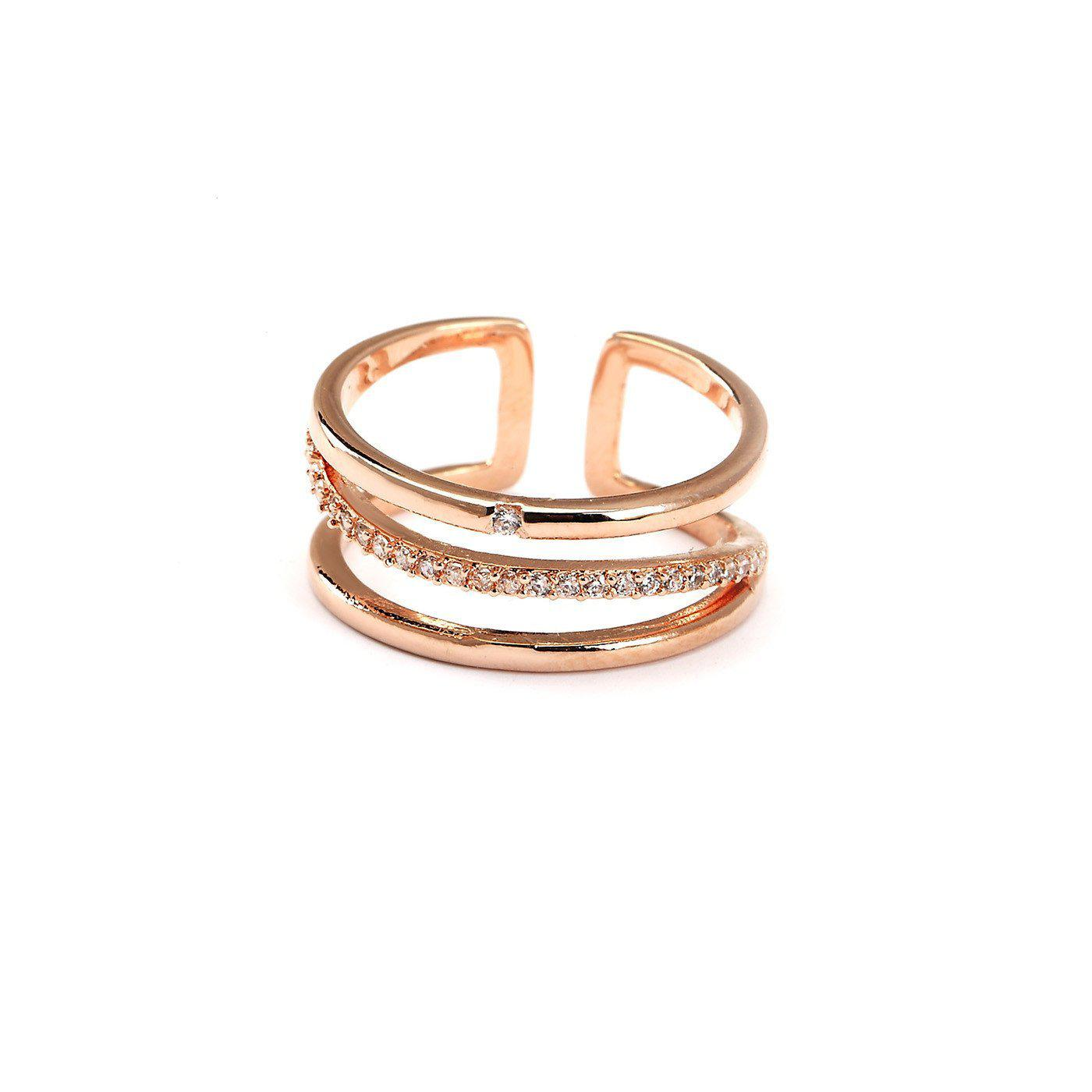 Intersection Rose Gold Plated Ring-Blinglane