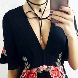 Intrepid Ribbon Bow Choker Layered Necklace-Blinglane