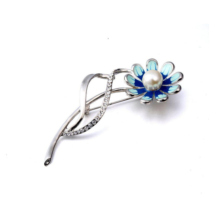 Inviting Blue Floral Brooch-Blinglane