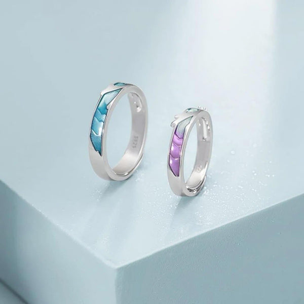 All We Need is a Little Splash of Colour Sterling Silver Love Bands