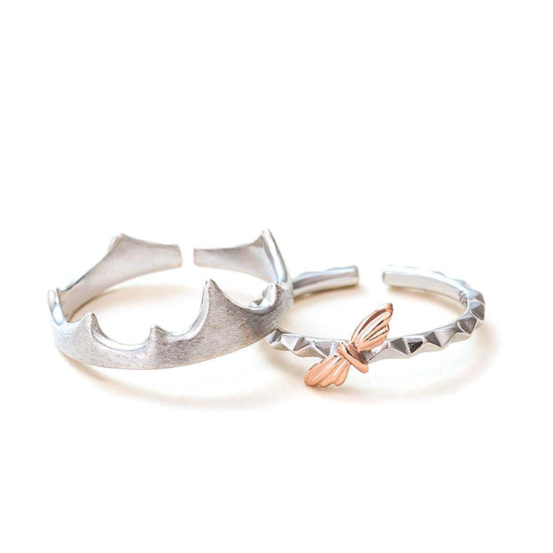 Like a Moth to a Flame Sterling Silver Love Bands-Blinglane