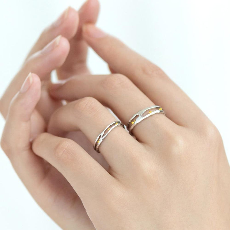 Little Drops of Heaven for Us Sterling Silver Love Bands-Blinglane