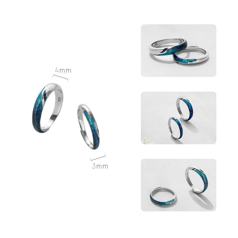 Love you like the Sea Loves the Shore Sterling Silver Love Bands