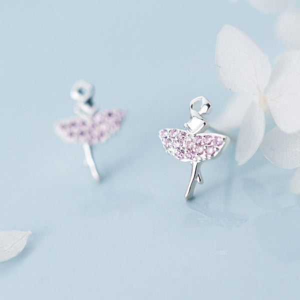 Lovely Ballerina Minimal Sterling Silver Studs-Silver Earrings-Blinglane
