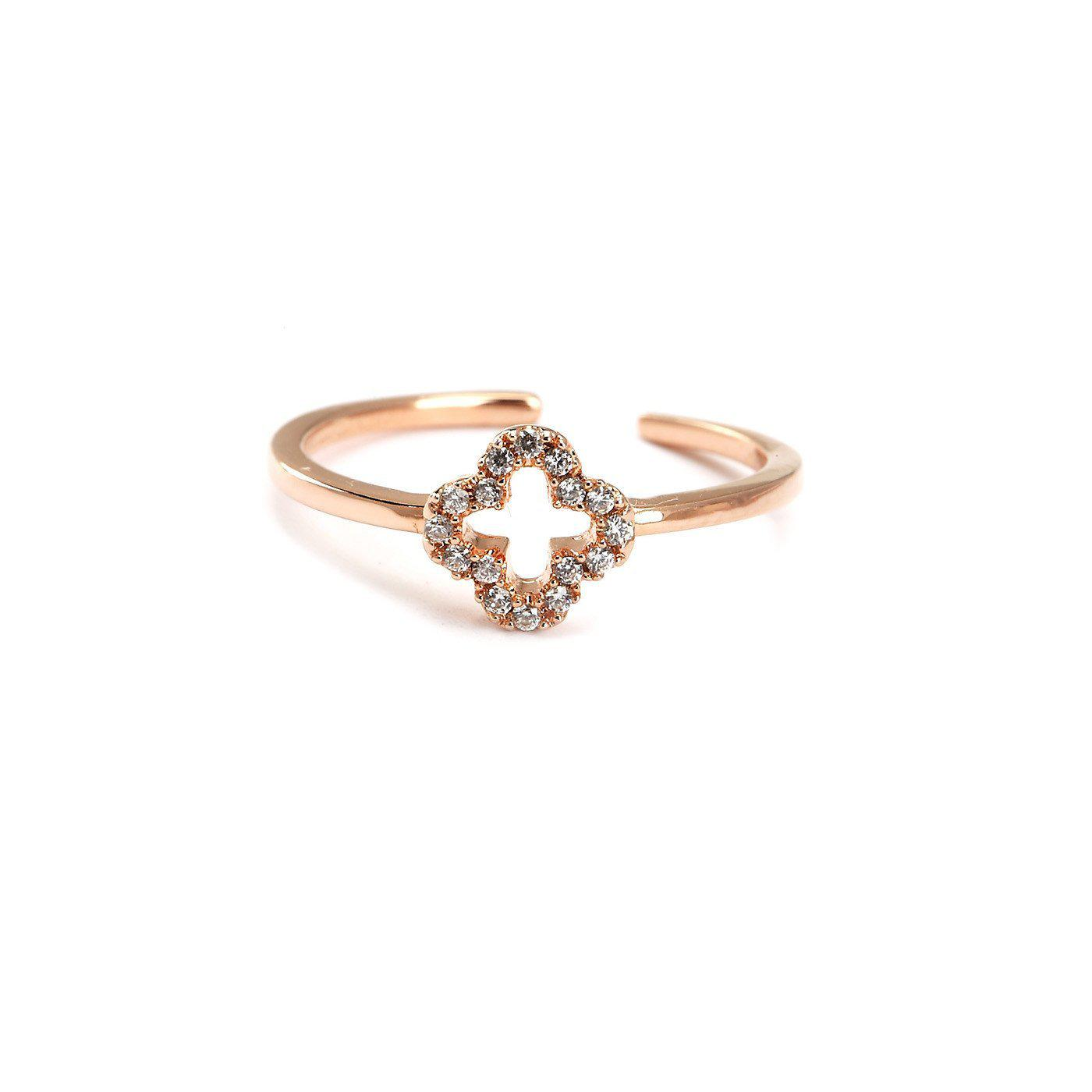 Lucky Clover Cz Studded Toe Ring-Blinglane