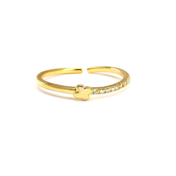 Lucky Clover Gold Plated Cz Rings-Blinglane