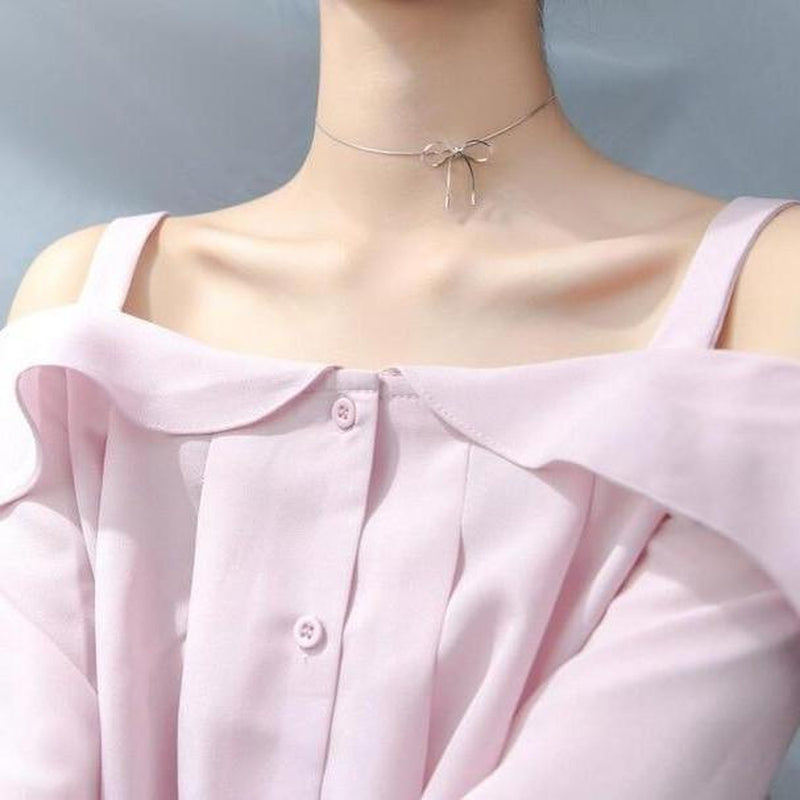 Luxe Bow Sterling Silver Choker Necklace