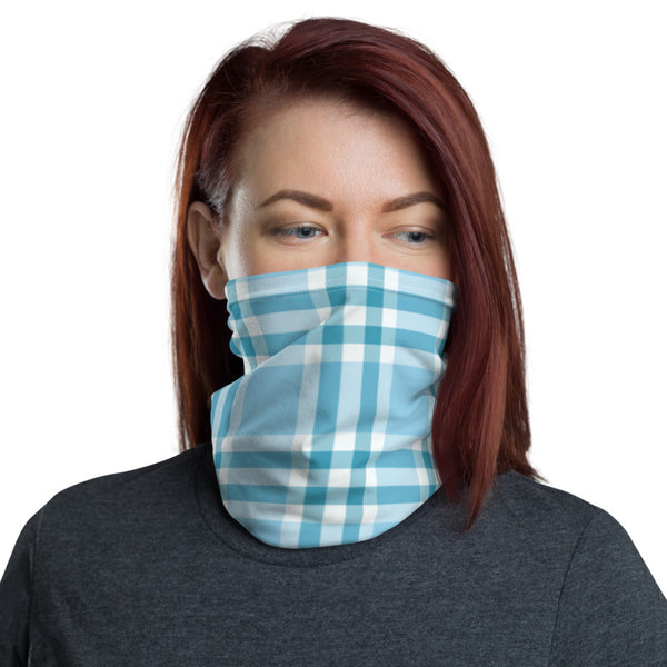 Turquoise Checks Neck Gaiter