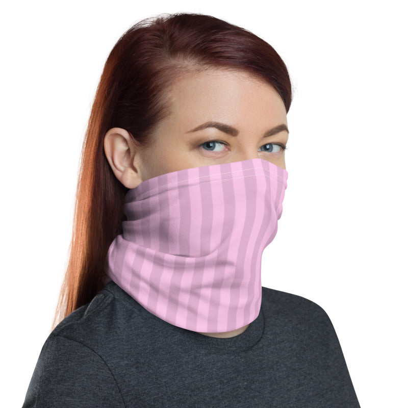 Pastel Pink Stripes Neck Gaiter