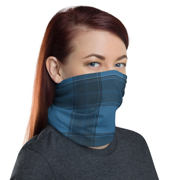 Deep Blue Checks Neck Gaiter