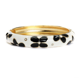 Monochrome Flora Metallic Fashion Bangle-Blinglane