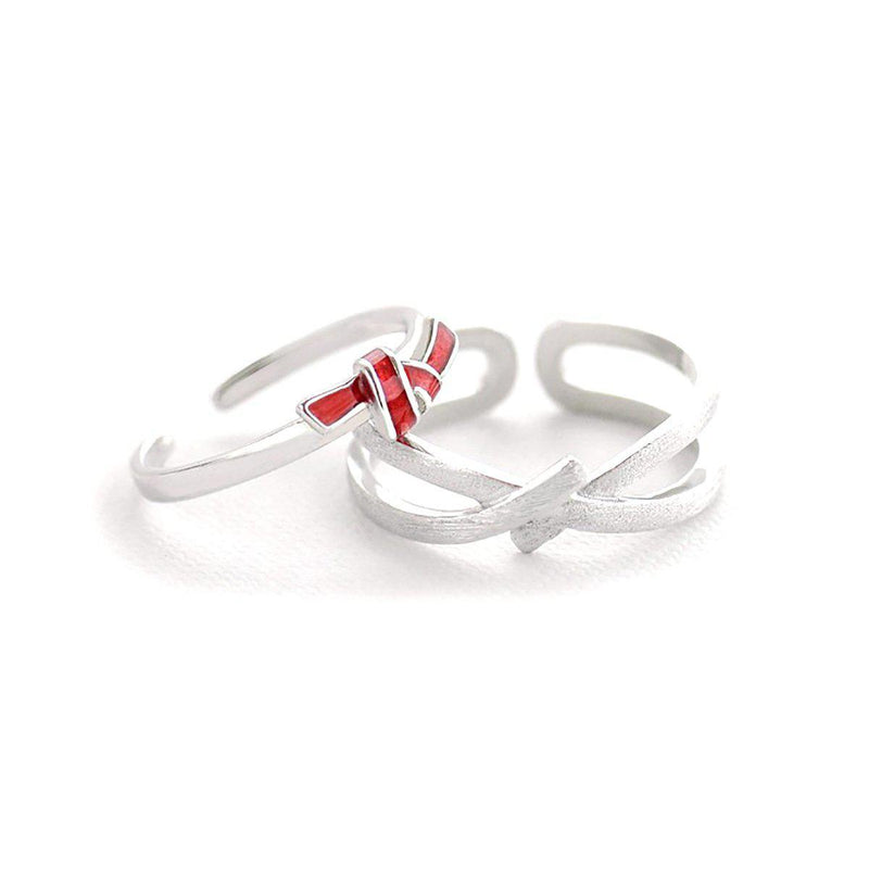 My Valentine Devotion Knot Sterling Silver Love Bands-Blinglane