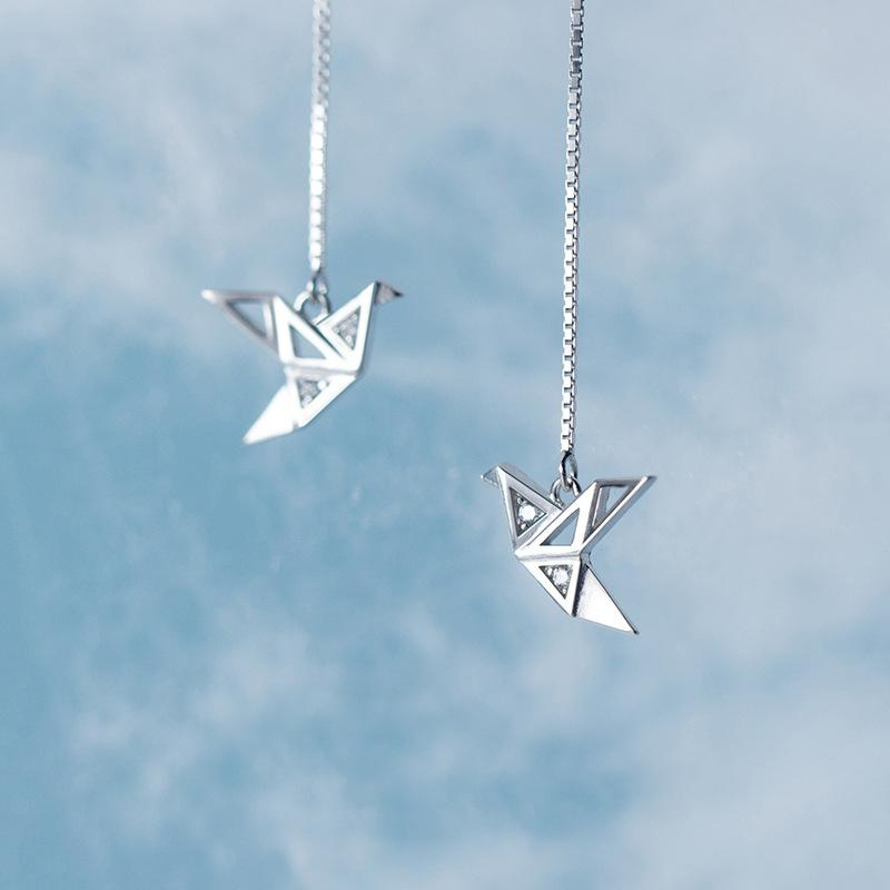 Origami Bird Sterling Silver Chain Earrings-Silver Earrings-Blinglane