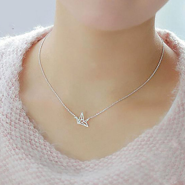 Origami Bird Sterling Silver Minimal Necklace