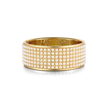 Pearl Studded Gold Plated Bangle-Blinglane
