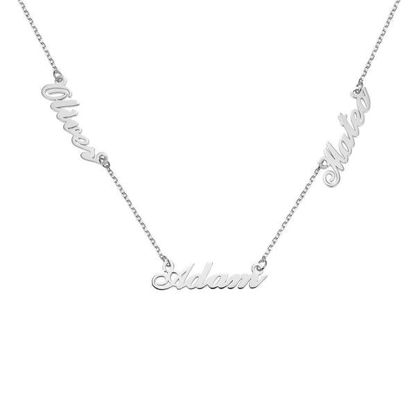 Personalize Three Names Sterling Silver Necklace-Silver Necklace-Blinglane
