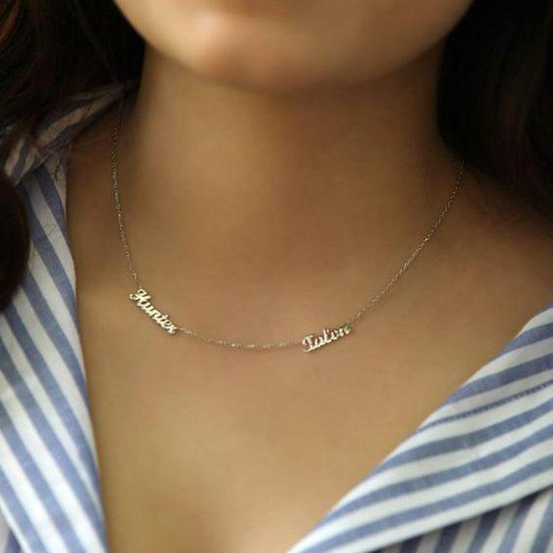 Personalize Two Names Sterling Silver Necklace-Silver Necklace-Blinglane