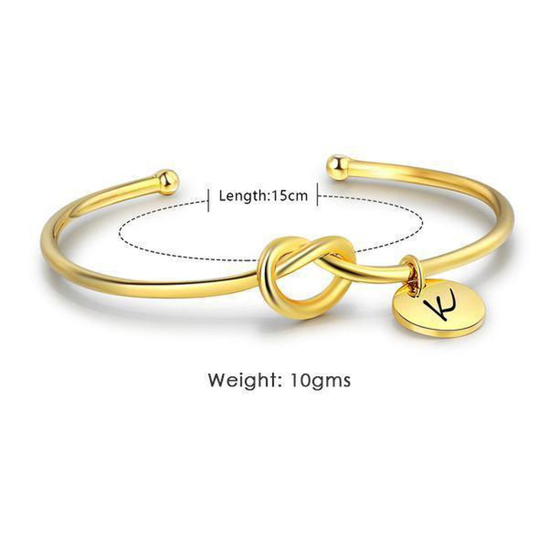 Personalize Your Initial Charm Cuff Bracelet