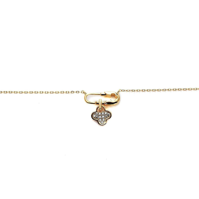 Pin It Clover Gold Plated Neckpiece-Blinglane