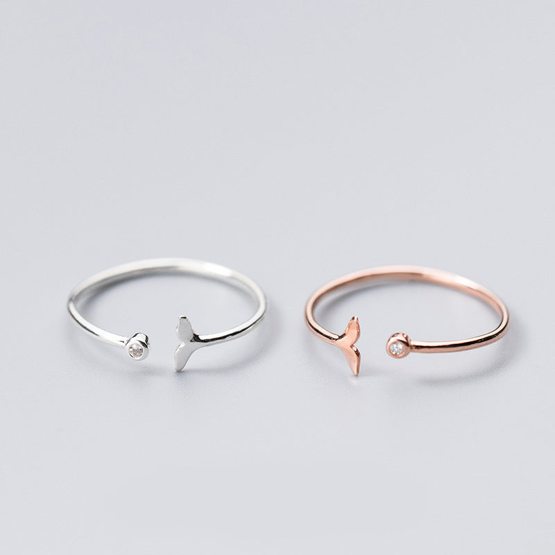 Lovely Dolphin Tail Minimal Sterling Silver Ring