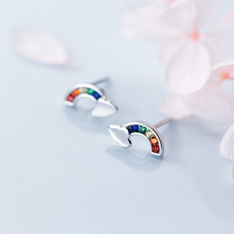 Rainbow Love Minimal Sterling Silver Studs