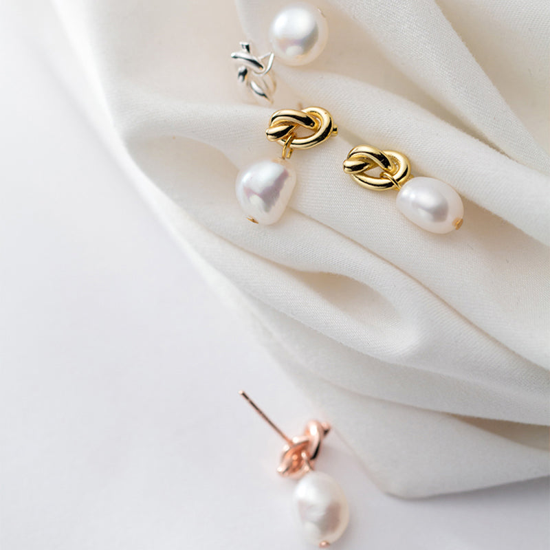 Classy Bow Knot Sterling Silver Minimal Pearl Studs