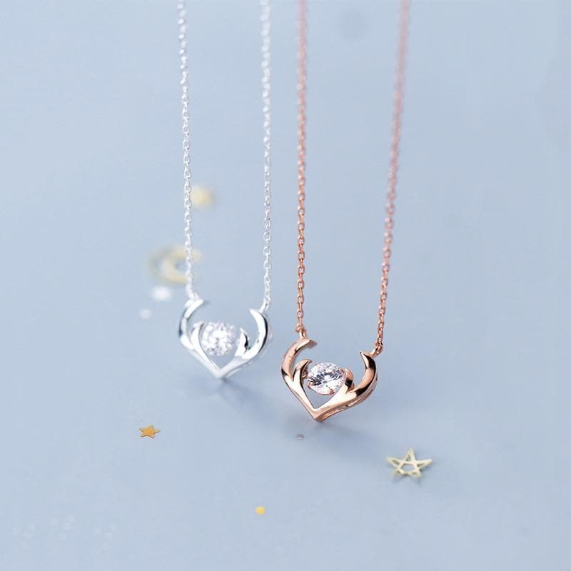 Antlers Solitaire Sterling Silver Minimal Necklace