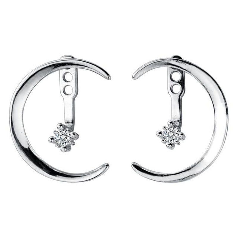 Elite Crescent Moon Sterling Silver Minimal Studs-Silver Earrings-Blinglane