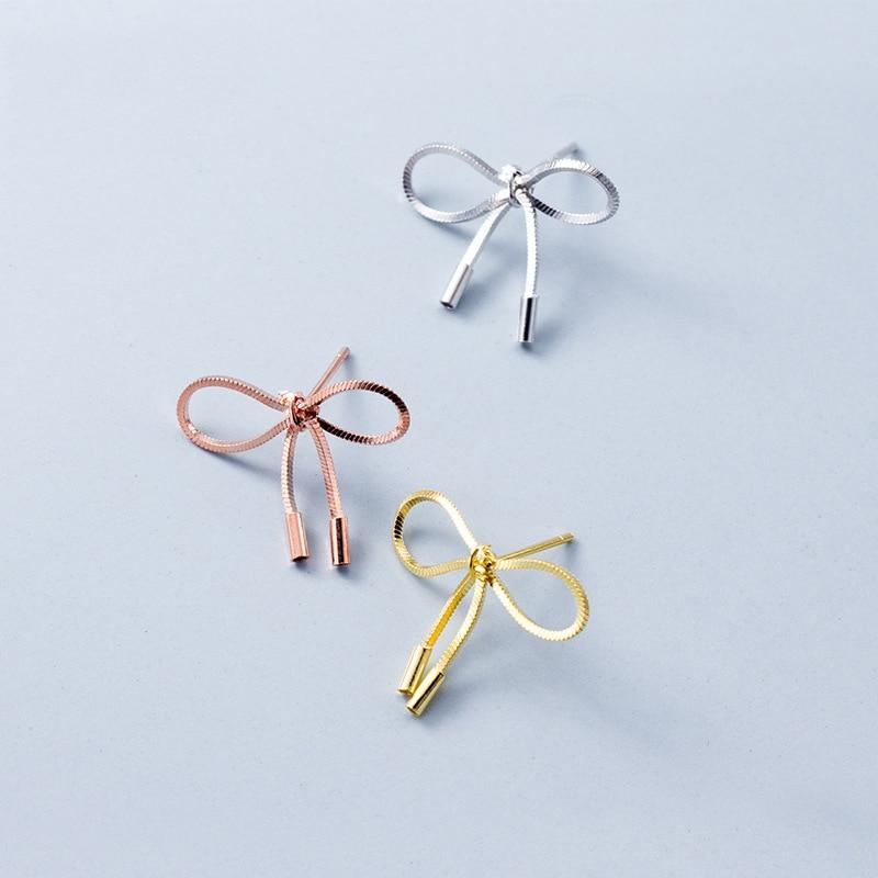 Luxe Bow Sterling Silver Minimal Studs-Silver Earrings-Blinglane
