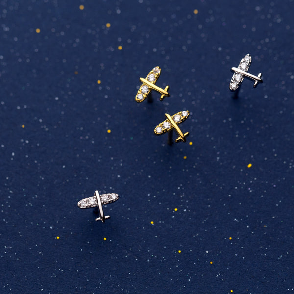 Minimal Airplane Sterling Silver Studs