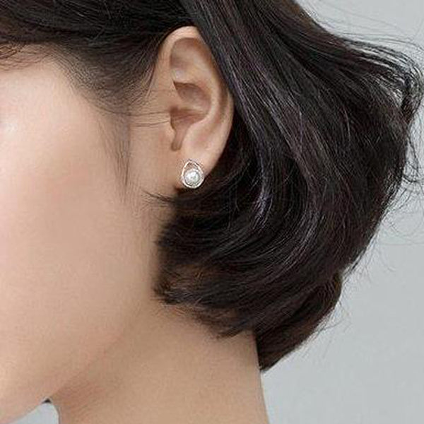 Leafy Pearl Sterling Silver Minimal Studs