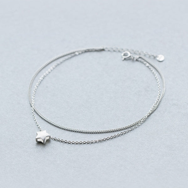Starlight Sterling Silver Layered Anklet