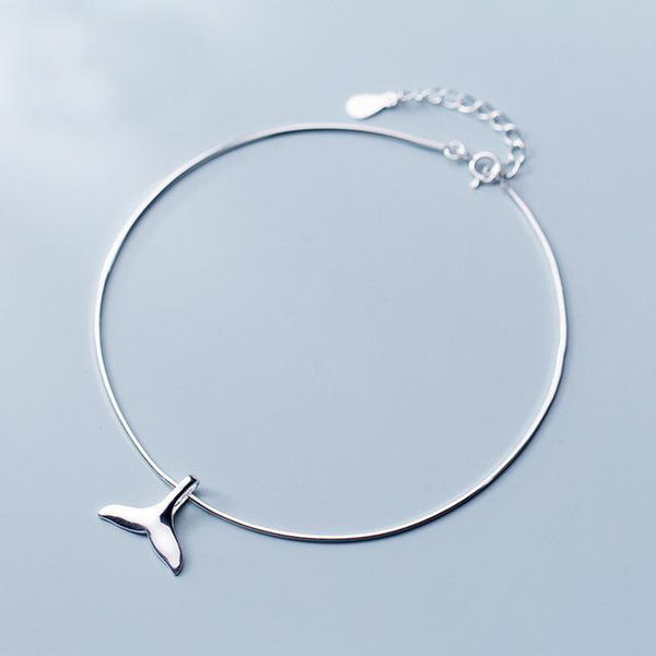 Lovely Dolphin Tail Sterling Silver Anklet