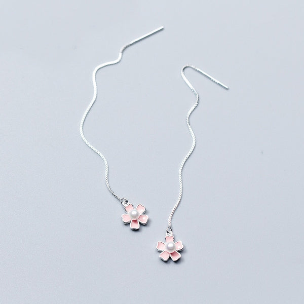 Classy Flower Sterling Silver Chain Earrings