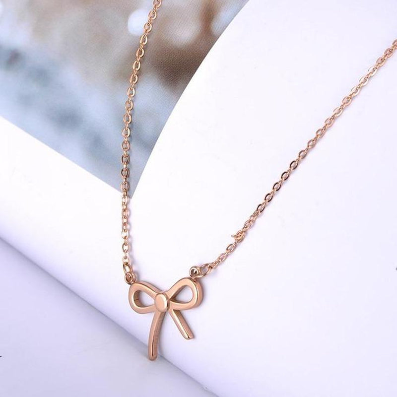Simplified Bow Knot Minimal  Necklace