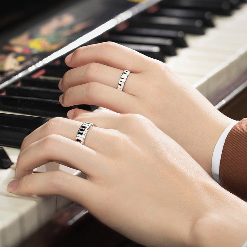 Lets Play a Duet Sterling Silver Love Bands
