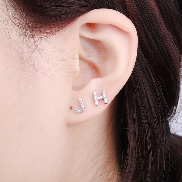 Minimal Initial Sterling Silver Studs