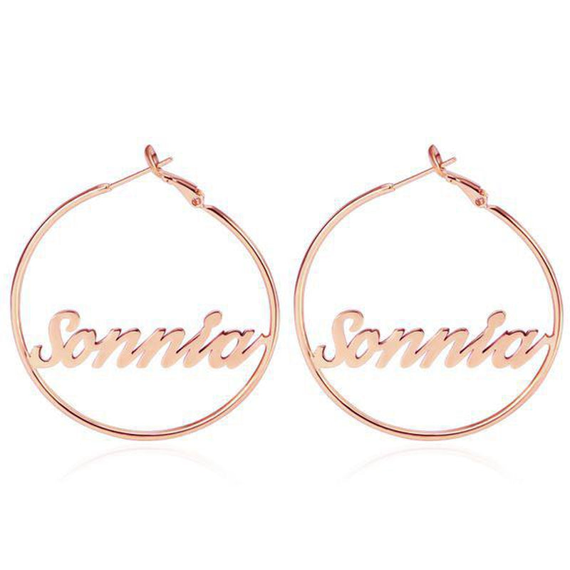 Personalize Your Name Fashion Hoop Earrings