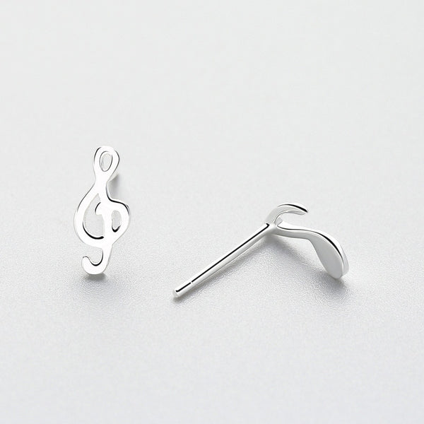 Musical Notes Minimal Sterling Silver Studs